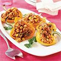 Stuffed #peppers are always a good choice. Get a #southwestern flavor with #barley and #corn. #recipes #lowcalorie
