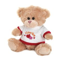 "Make a declaration of your love that will make that special someone feel all warm and fuzzy! This adorable plush bear is outfitted with a fleecy white top with red trim that features ""I Love You"" embroidered on the front along with two hearts. Love Gifts For Her, Great Gifts, Happy Birthday Bear, Bear Valentines, I Love You, My Love, Toys For Girls, Best Mom, Baby Gifts"