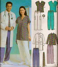 PLUS tamaño friega patrón de costura - fácil Unisex Médico friegue Tops pantalones chaqueta