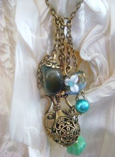 """long necklace """"Elixir of love """"    with moss agate and old jug ...pearl handmade(glass)"""