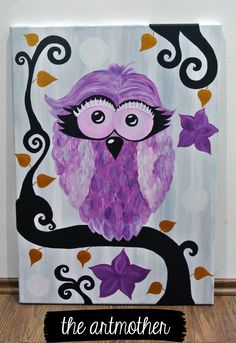 A chick owl for little princesses  - a painting to decorate children´s room