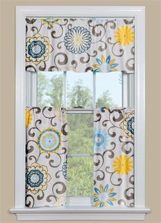 One Of Our Most Por Patterns Pom Play Spa These Fl Kitchen Curtains Have Grey Scrolls And Blue Yellow Flowers With A Hint Green