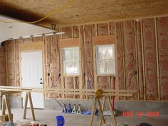 osb ceiling - paint each section (prime with Kilz) before installing, so they can easily be removed Painted Osb, Ceiling Ideas, Garage Ideas, Shop Ideas, Attic, Shed, Curtains, Projects, Diy