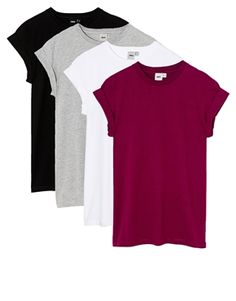 Image 1 ofASOS Boyfriend T-Shirt with Roll Sleeve 4 Pack SAVE 20%