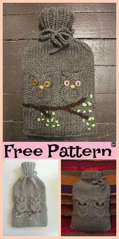 Cute Knit Owl Water Bottle Cozy – Free Pattern #freeknittingpattern #owl  #bottlecozy