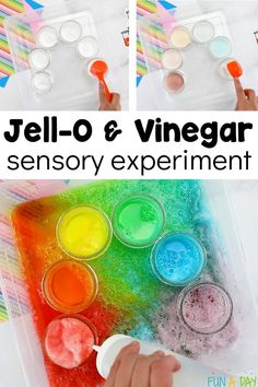 This Jello and vinegar science experiment is an absolute blast to do with the kids! AND it can be done with just a few simple household items. Rainbow Activities, Preschool Science Activities, Science Curriculum, Indoor Activities For Kids, Fun Crafts For Kids, Motor Activities, Science Education, Health Education, Physical Education