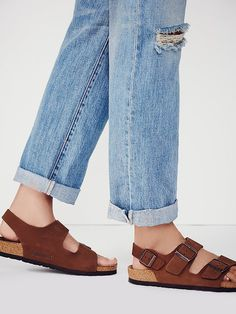 Milano Birkenstock | Classic two-strap Birks with the addition of a heel strap, each fully adjustable. Thick and supple oiled leather upper with comfortable, lightweight cork-based sole. *By Birkenstock