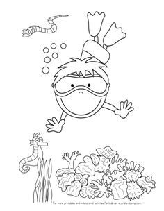 cartoon sea animal in line art style black and white stock art inspiration pinterest. Black Bedroom Furniture Sets. Home Design Ideas