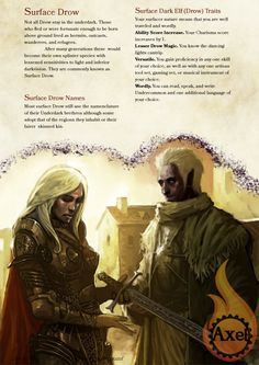 Surface Drow. For players who want surfacers who aren't light sensitive. Homebrewed for Dungeons and Dragons 5th Edition by me. Artist is tagged at the bottom of the page. PDF