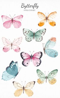 Butterfly Clip Art, Butterfly Drawing, Butterfly Watercolor, Vintage Butterfly, Cute Butterfly, Journal Stickers, Stationery Paper, Flower Frame, Cute Stickers