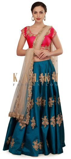 Teal blue lehenga featuring in silk with coral blouse. Its embellished in gotta patti lace embroidery in floral motif. Punjabi Fashion, Ethnic Fashion, Indian Fashion, Lengha Dress, I Dress, Anarkali, Ethnic Outfits, Indian Outfits, Indian Attire