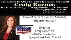 Town of Gilbert, Council Member, Brigette PetersonEndorses Craig Barnes for Re-Election to the Queen Creek Town Council   http://www.cbarnes4qc.com/about-1.html #QueenCreek #QueenCreekTownCouncil #TownCouncilQueenCreek
