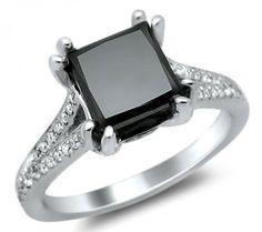 2.45ct Black Princess Cut Diamond Engagement Ring 18k White Gold
