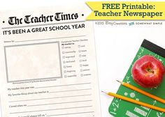 Free Printable Teacher Newspaper by BitsyCreations for Somewhat Simple