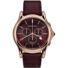 Men's Emporio Armani Swiss Made Chronograph Alligator Strap Watch 44mm - Burgundy/ Rose Gold