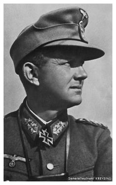 ✠ Hans Kreysing (17 August 1890 – 14 April 1969) RK 29.05.1940 Oberst Kdr Inf.Rgt 16 22. Luftlande Infanterie-Division [183. EL] 20.01.1943 Generalleutnant Kdr 3. Geb.Div [63. Sw.] General der Gebirgstruppe K.G. XVII. AK
