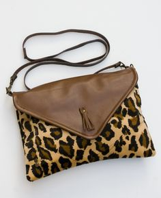 need!  envelope crossbody with removable strap (cheetah ultrasuede + brown leather)