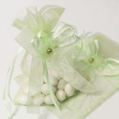 100 Mint Green Organza Bags 3 x 4 Inch Sheer Favor Bags For