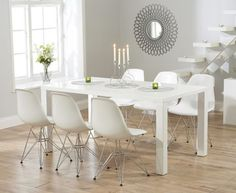 View large image of Atlanta 160cm White High Gloss Dining Table with Charles Eames Style DSR Eiffel Chairs