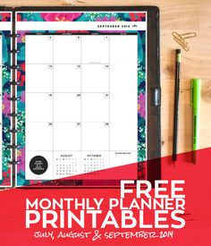 Free Floral Monthly Planner Printables - For the beginning of the academic year (July-September 2014)