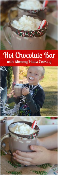 Holiday Hot Chocolate Bar is a great way to have a little fun this holiday season. My family loves this on days when we are decorating! Hot Chocolate Bars, Hot Chocolate Recipes, Yummy Treats, Delicious Desserts, Yummy Food, Tasty, Sangria, Cocktails, I Love Food