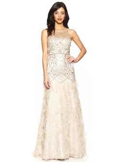 SUE WONG Ball Gown with Feather Detail