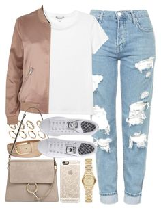 """Outfit with mom jeans and a bomber jacket"" by ferned ❤ liked on Polyvore featuring Casetify, Topshop, Monki, ALDO, Michael Kors, River Island, Chloé, adidas and Burberry"