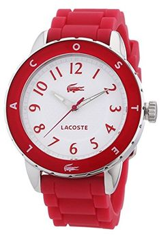 Lacoste Womens Rio 2000746 Pink Silicone Analog Quartz Watch with White Dial * Check out the image by visiting the link.