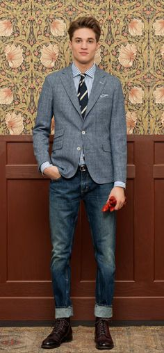 Love the jkt length & low rise denim bottoms combo w/tie... Quintessential man-about-town outfit... Prediction: this is the new classic
