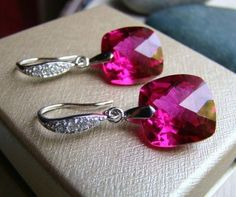 Luxury Magenta Topaz Pave Silver Earrings by VeraidaGifts on Etsy, $97.00