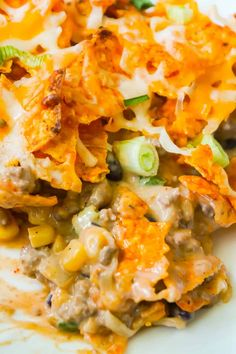 Doritos Casserole with Ground Beef is an easy dinner recipe the whole family will love. This hearty casserole is loaded with ground beef, cream cheese, corn, black beans, shredded cheese and topped with crumbled Doritos. Doritos Casserole, Beef Casserole Recipes, Chicken Casserole, Hamburger Casserole, Cowboy Casserole, Hamburger Recipes, Chicken Recipes, Easy Ground Beef Casseroles, Ground Beef Recipes