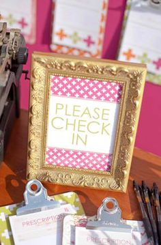 doc mcstuffins party Check in with clip boards. Also check out my shop for more ideas www.partiesandfun.etsy.com