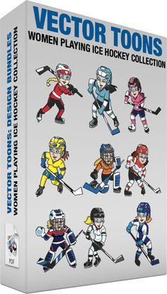 Women Playing Ice Hockey Collection #cartoon #clipart #vector #vectortoons #stockimage #stockart #art
