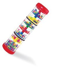 """Rainfall Rattle:  Treat little eyes and ears to a stream of colorful, cascading beads. Turn or tilt it just a little bit, then watch and listen! The beads fall gently from end-to-end, through the 8 levels and then back again in this fascinating musical toy. 8"""" / 20.3 cm long.  9m – toddler"""