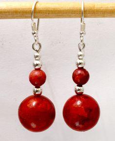 Coral dangle earrings, statement earrings, red boho granny jewelry Red Earrings, Statement Earrings, Handmade Rings, Handmade Jewelry, Gifts For Women, Gifts For Her, Wire Wrapped Earrings, Jewelry Gifts, Jewelry Ideas