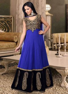 Unique Blue Plus Size Anarkali Suit