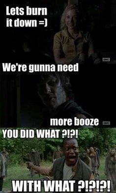 The Walking Dead // Bob doesn't like to waste the booze.