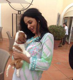 Mallika Sherawat with her pup. Pic/Mallika Sherawat's Twitter account | #indipin