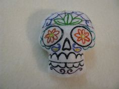 Small Sugar Skull Pincushion or stuffed animal by BatGirlDesigns