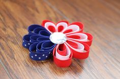 Patriotic Flower Hair Clip Ribbon Sculpture by KidHearted on Etsy, $4.75