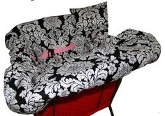 Shopping Cart Cover for Baby or Toddler - Black Damask