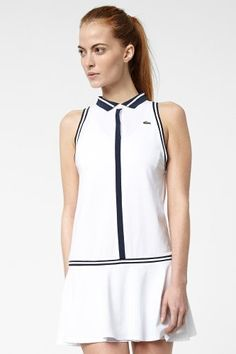 Lacoste Sleeveless Technical Pique Pleated Tennis Dress