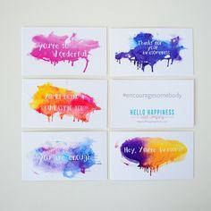 Mini Encouragement Cards - Watercolor Set