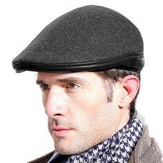 b17fdaf3aaa Mens Solid Woolen With Ear Flaps Windproof Beret Hat Outdoor Fleece Lining  Warm Forward Cap