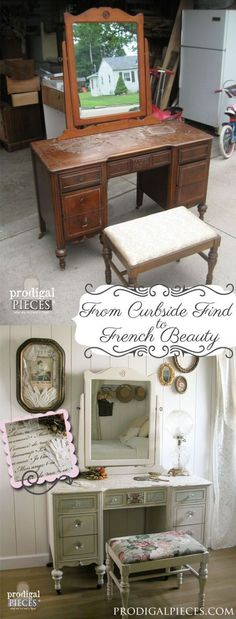 From curbside to French beauty - Shabby Chic Furniture using French quotes and lettering stencils - Royal Design Studio designer stencils for furniture makeover DIY projects by deborah #shabbychicfurnituremakeover #shabbychicfurniturefrench #shabbychicfurnitureprojects