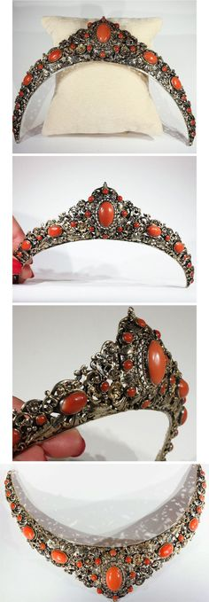 Antique Austro-Hungarian Round And Oval Cabochon Cut Red Coral and Silver Gilt Tiara, c. 1870