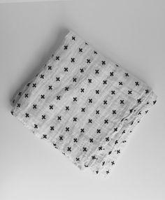 Large Muslin Swaddle Blanket in Black and White Swiss Cross Print // Modern Burlap