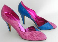 Andrea Pfister Pink Blue Lizard Heels