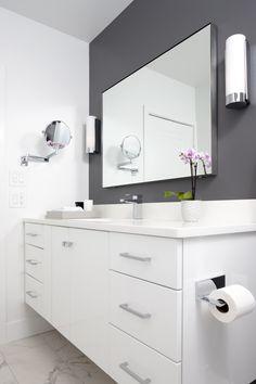 Ideas For Bath Room Tiles Light Cabinets Gray Bathroom Walls, Bathroom Accent Wall, Master Bathroom, Floating Cabinets, Floating Vanity, Room Tiles, Wall Tiles, Bath Tub Fun, Bathtub Makeover