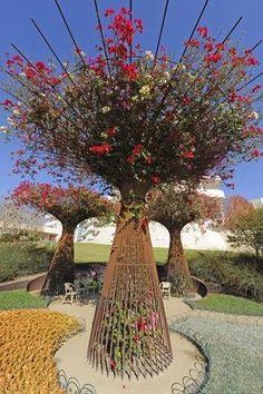 Bougainvillea trellis art in the garden